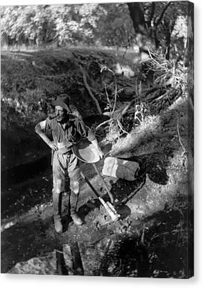 A California Gold Miner Canvas Print by Underwood Archives