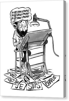 A Cartoonist Sits At His Desk Drawing. A Thought Canvas Print by Zohar Lazar