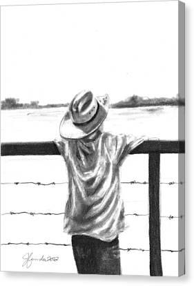 A Child On A Farm Canvas Print by J Ferwerda