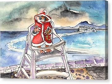 A Christmas Troll In Lanzarote Canvas Print by Miki De Goodaboom