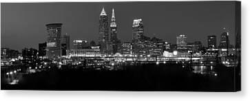 A Cleveland Black And White Night Canvas Print by Frozen in Time Fine Art Photography