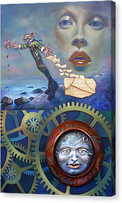 A Clockwerk Moone Is A Harsh Mistress Canvas Print by Patrick Anthony Pierson