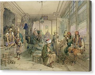 A Coffee House, Constantinople, 1854 Canvas Print by Amadeo Preziosi
