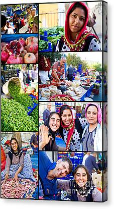 A Collage Of The Fresh Market In Kusadasi Turkey Canvas Print by David Smith