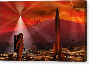 A Colony Being Established On An Alien Canvas Print by Mark Stevenson
