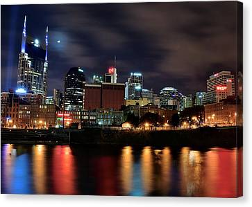 A Colorful Night In Nashville Canvas Print by Frozen in Time Fine Art Photography