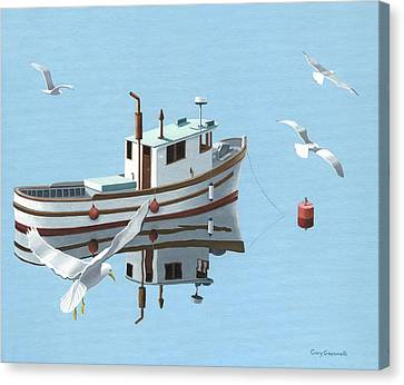 A Contemplation Of Seagulls Canvas Print by Gary Giacomelli