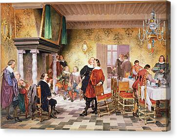 A Convivial Meeting Of The Brewers Canvas Print by Louis Haghe