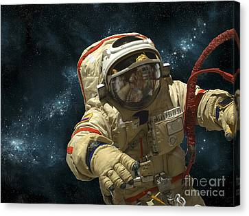 A Cosmonaut Against A Background Canvas Print by Marc Ward
