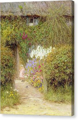A Cottage At Redlynch Canvas Print by Helen Allingham