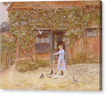 A Cottage At Shere Canvas Print by Helen Allingham