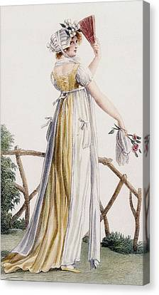 A Country Style Ladies Dress Canvas Print by Pierre de La Mesangere