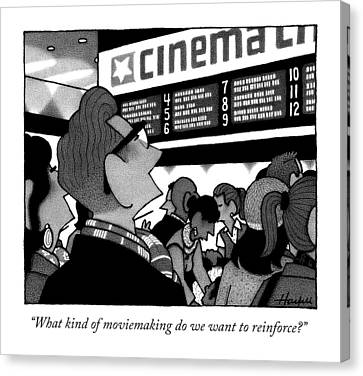A Couple Looking At The Marquee Of Movies Showing Canvas Print by William Haefeli