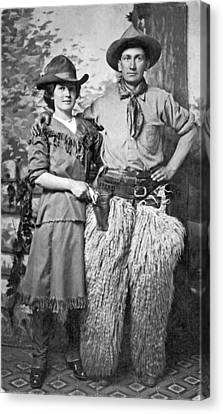 A Couple Poses In Western Gear Canvas Print by Underwood Archives