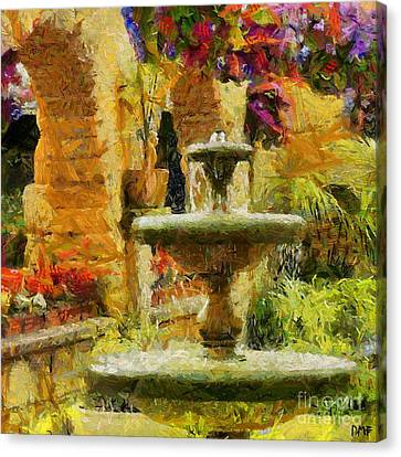 A Courtyard Fontaine Canvas Print by Dragica  Micki Fortuna