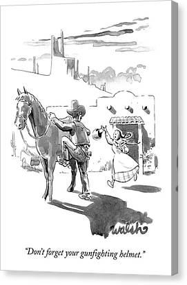 A Cowboy Mounts A Horse Canvas Print by Liam Walsh