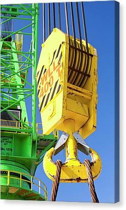 A Crane Hook On A 400 Tonne Crane Canvas Print by Ashley Cooper