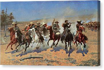 A Dash For The Timbers Canvas Print by Frederic Remington