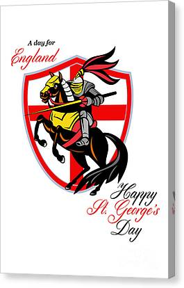 A Day For England Happy St George Day Retro Poster Canvas Print by Aloysius Patrimonio
