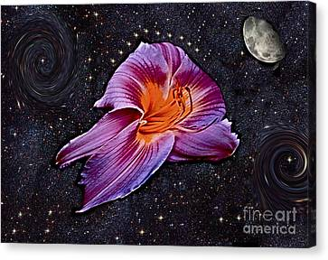 A Daylily Bloom Rockets To The Moon Canvas Print by ImagesAsArt Photos And Graphics