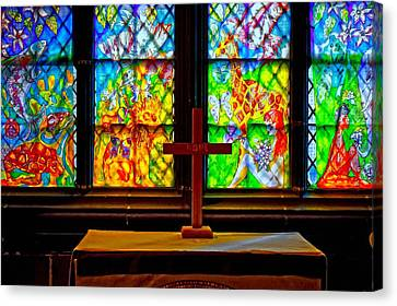 A Digitally Converted Painting Of Stained Glass Windows Canvas Print by Ken Biggs