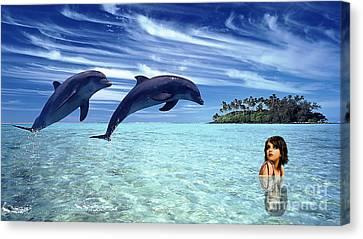 A Dolphins Tale Canvas Print by Marvin Blaine