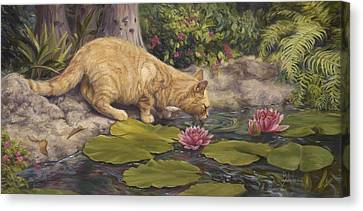 A Drink At The Pond Canvas Print by Lucie Bilodeau