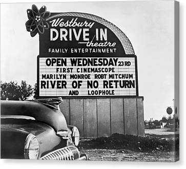 A Drive-in Theater Marquee Canvas Print by Underwood Archives