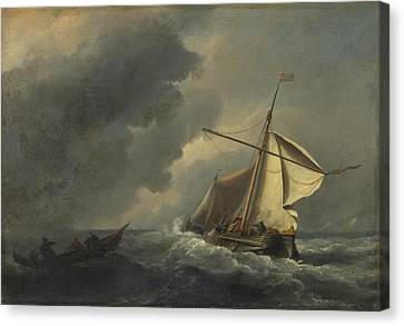 A Dutch Vessel In A Strong Breeze Canvas Print by Willem van de Velde