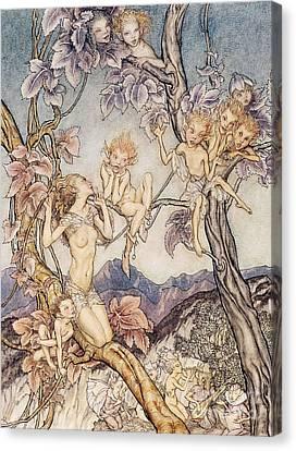 A Fairy Song From A Midsummer Nights Dream Canvas Print by Arthur Rackham