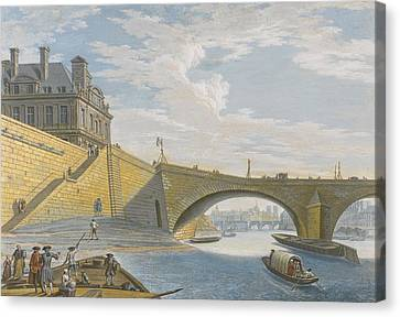 A Ferry On The Seine Below The Pont Royal Canvas Print by Celestial Images