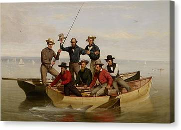 A Fishing Party Off Long Island Canvas Print by Junius Brutus Stearns