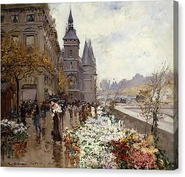 A Flower Market Along The Seine Canvas Print by Georges Stein