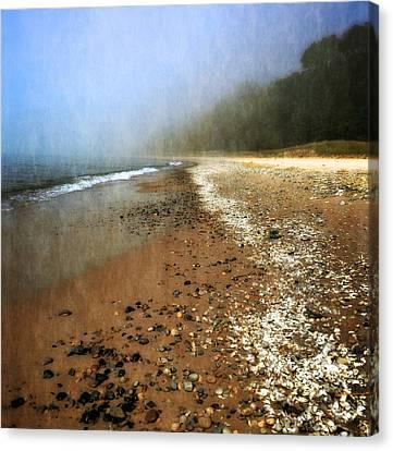 A Foggy Day At Pier Cove Beach 2.0 Canvas Print by Michelle Calkins