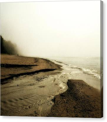 A Foggy Day At Pier Cove Beach Canvas Print by Michelle Calkins