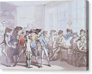 A French Coffee House Canvas Print by Thomas Rowlandson