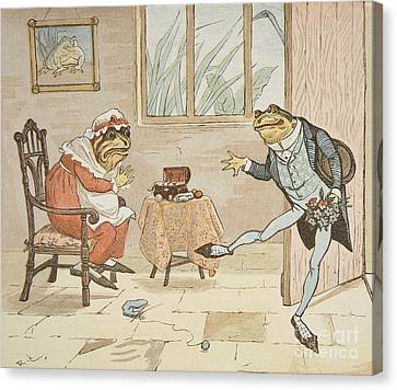 A Frog He Would A Wooing Go Canvas Print by Randolph Caldecott