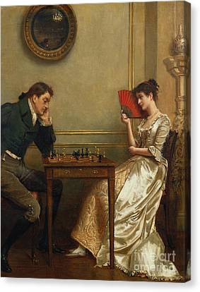 A Game Of Chess Canvas Print by George Goodwin Kilburne