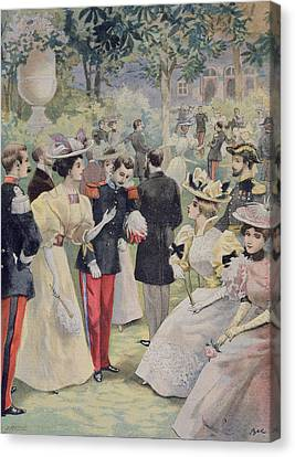 A Garden Party At The Elysee Canvas Print by Fortune Louis Meaulle