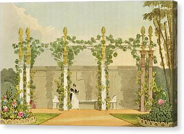A Garden Seat, From Ackermanns Canvas Print by John Buonarotti Papworth