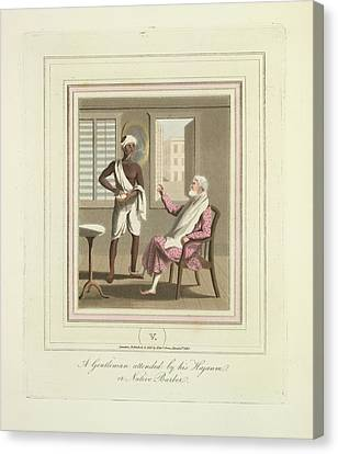 A Gentleman And A Barber Canvas Print by British Library