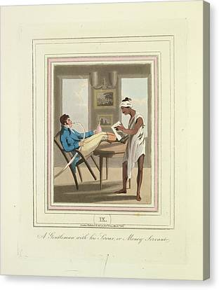 A Gentleman And A Money Servant Canvas Print by British Library