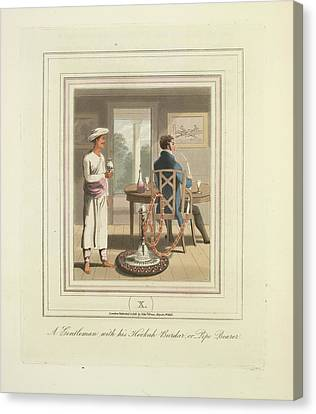 A Gentleman And A Pipe Bearer Canvas Print by British Library
