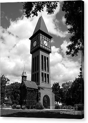 A German Bell Tower Bw Canvas Print by Mel Steinhauer