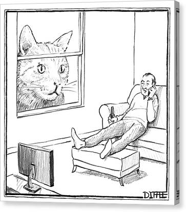 A Giant Cat Peers Into A Window As A Man Watches Canvas Print by Matthew Diffee