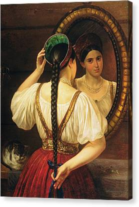 A Girl At The Mirror, 1848 Oil On Canvas Canvas Print by Philipp Osipovich Budkin