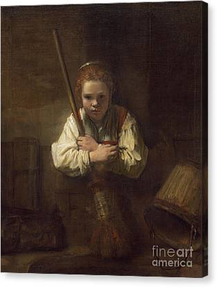 A Girl With A Broom Canvas Print by Rembrandt