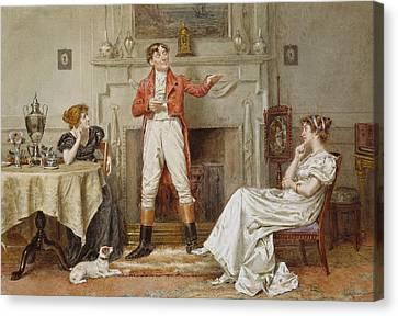 A Good Story Canvas Print by George Goodwin Kilburne