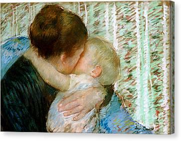 A Goodnight Hug  Canvas Print by Mary Stevenson Cassatt