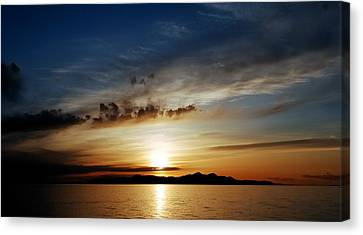 A Great Salt Lake Sunset Canvas Print by Steven Milner